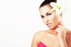 Close-up of beautiful girl with flowers Stock Image