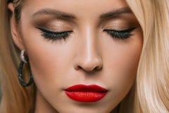 close up of beautiful girl with makeup Stock Photos