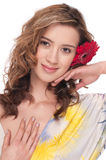 Close-up of beautiful girl with red aster flower Stock Photography