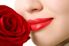 Close-up of beautiful girl with red rose Royalty Free Stock Image
