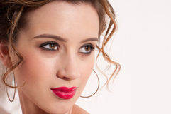 Close-up of beautiful girl with red vogue maekeup Royalty Free Stock Photography