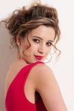 Close-up of beautiful girl with red vogue maekeup Stock Photo