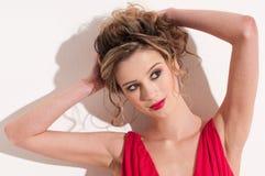 Close-up of beautiful girl with red vogue maekeup Stock Photos