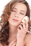 Close-up of beautiful girl with white rose flower Royalty Free Stock Photos