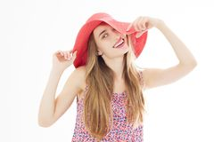Close up Beautiful Girl, Young Woman Portrait. Attractive Woman Profile. Woman in a Peach Hat on her Head, Beautiful Model Face stock photos