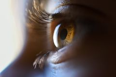 Close-up of beautiful little girl brown eye Royalty Free Stock Photo