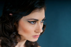 Close up of Beautiful Model. Portrait of beautiful caucasian model studio Stock Photography