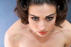 Close up of Beautiful Model. Portrait of beautiful caucasian model studio Royalty Free Stock Image