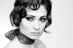 Close up of Beautiful Model. Portrait of beautiful caucasian model studio Stock Photo