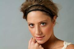 Close up of Beautiful Model. Portrait of beautiful caucasian model studio Royalty Free Stock Photography