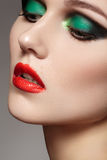 Close-up beautiful model face with fashion make-up Royalty Free Stock Photography