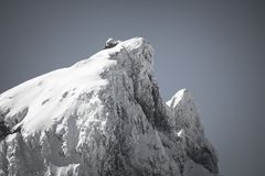 Close up of beautiful mountain top pic du midi in pyrenees mountain range in black and white, france. Close up of beautiful mountain top pic du midi in pyrenees Royalty Free Stock Photos