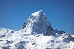 Close up of beautiful mountain top pic du midi in pyrenees mountain range, france. Close up of beautiful mountain top pic du midi in pyrenees mountain range Stock Photo
