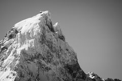 Close up of beautiful mountain peak pic du midi in pyrenees mountain range in black and white, france. Close up of beautiful mountain top pic du midi in pyrenees Stock Photo