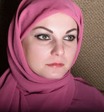 Close-up beautiful mysterious eyes eastern woman wearing a hijab Royalty Free Stock Photography