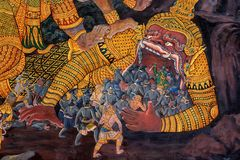 Colorful painting in Wat Phra Kaew Temple, Bangkok Royalty Free Stock Photography