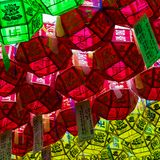 Close up of beautiful paper lanterns. The festival is a celebration the birth of Buddha in South Korea stock photos