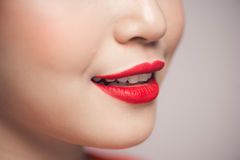 Close-up of beautiful perfect red lips. Selective focus. Close-up of beautiful perfect red lips. Selective focus Royalty Free Stock Images