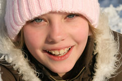 Close-up, beautiful portrait of the young girl Stock Photos