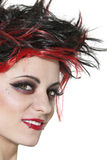 Close-up of beautiful punk woman smiling over white background Royalty Free Stock Image