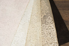 Close up of Beautiful Sheer Curtains Fabric Samples. Texture, Background, Pattern. Wedding Concept. Interior Design. Vintage Lace Stock Photo