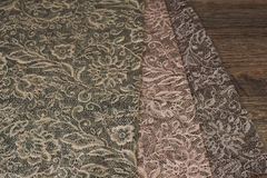 Close up of Beautiful Sheer Curtains Fabric Samples. Texture, Background, Pattern. Wedding Concept. Interior Design. Vintage Lace Stock Photos