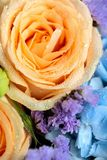 Close up of beautiful soft colour flower bouquet with blue Hydra. Ngea, peach roses, pink lisianthus, ping pong mums and astrantia. Vertical composition royalty free stock image