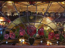 Close-up of beautiful stained glass window with decoration stock photos