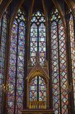 Close up Beautiful stained glass windows in the upper level interior Sainte-Chapelle Paris France. Close up Stained Glass windows at the upper level interior Royalty Free Stock Photography