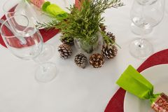Beautiful table setting for an occasion. Close-up of beautiful table setting for an occasion Royalty Free Stock Photography