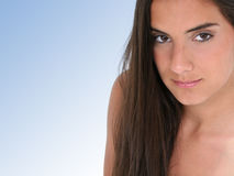 Close Up of Beautiful Teen Girl Over Blue Stock Images