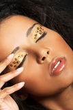 Close up on beautiful tiger make-up. Stock Images
