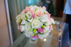 Close up of beautiful wedding bouquet Bride on table Stock Photography