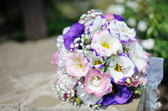 Close up of beautiful wedding bouquet Bride on table Stock Images