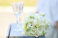 Close up of beautiful wedding bouquet Bride on table Stock Image