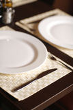 Close-up with beautiful white plates Royalty Free Stock Photo