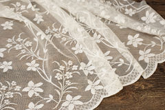 Close up of Beautiful White Tulle. Sheer Curtains Fabric Sample. Texture, Background, Pattern. Wedding Concept. Interior Design. V Stock Photos