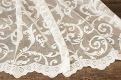 Close up of Beautiful White Tulle. Sheer Curtains Fabric Sample. Texture, Background, Pattern. Wedding Concept. Interior Design. V Royalty Free Stock Photo