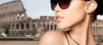 Close up of beautiful woman in black sunglasses Royalty Free Stock Photos