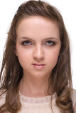 Close up beautiful woman with clear make up Royalty Free Stock Image