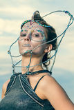 Close up of a beautiful woman with crystals glued on her face Stock Photography