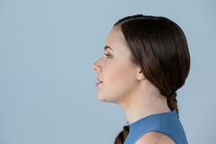 Close-up of beautiful woman day dreaming Stock Images