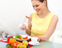 Close-up Of Beautiful Woman Eating healthy Food Royalty Free Stock Photo