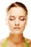 Close-up of beautiful woman face. Stock Photos