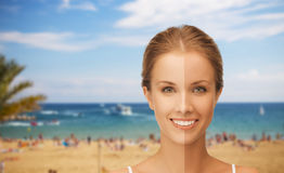 Close up of beautiful woman with half face tanned Royalty Free Stock Photo