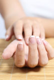 Close up of a beautiful woman hand french manicure Royalty Free Stock Photo