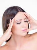 Close up Beautiful Woman Having Headache Stock Photography