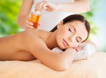 Close up of beautiful woman having massage at spa Stock Photography