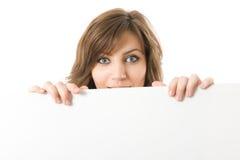 Free Close-up. Beautiful Woman Holding A Billboard. Royalty Free Stock Photography - 5210727