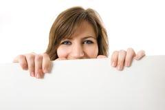 Free Close-up. Beautiful Woman Holding A Billboard. Stock Photos - 5291283